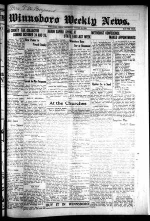 Primary view of object titled 'Winnsboro Weekly News (Winnsboro, Tex.), Vol. 15, No. 4, Ed. 1 Thursday, October 23, 1924'.