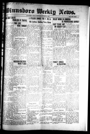 Winnsboro Weekly News (Winnsboro, Tex.), Vol. 15, No. 5, Ed. 1 Thursday, October 30, 1924