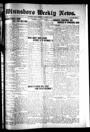 Winnsboro Weekly News (Winnsboro, Tex.), Vol. 15, No. 8, Ed. 1 Thursday, November 20, 1924