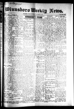 Primary view of object titled 'Winnsboro Weekly News (Winnsboro, Tex.), Vol. 15, No. 11, Ed. 1 Thursday, December 11, 1924'.
