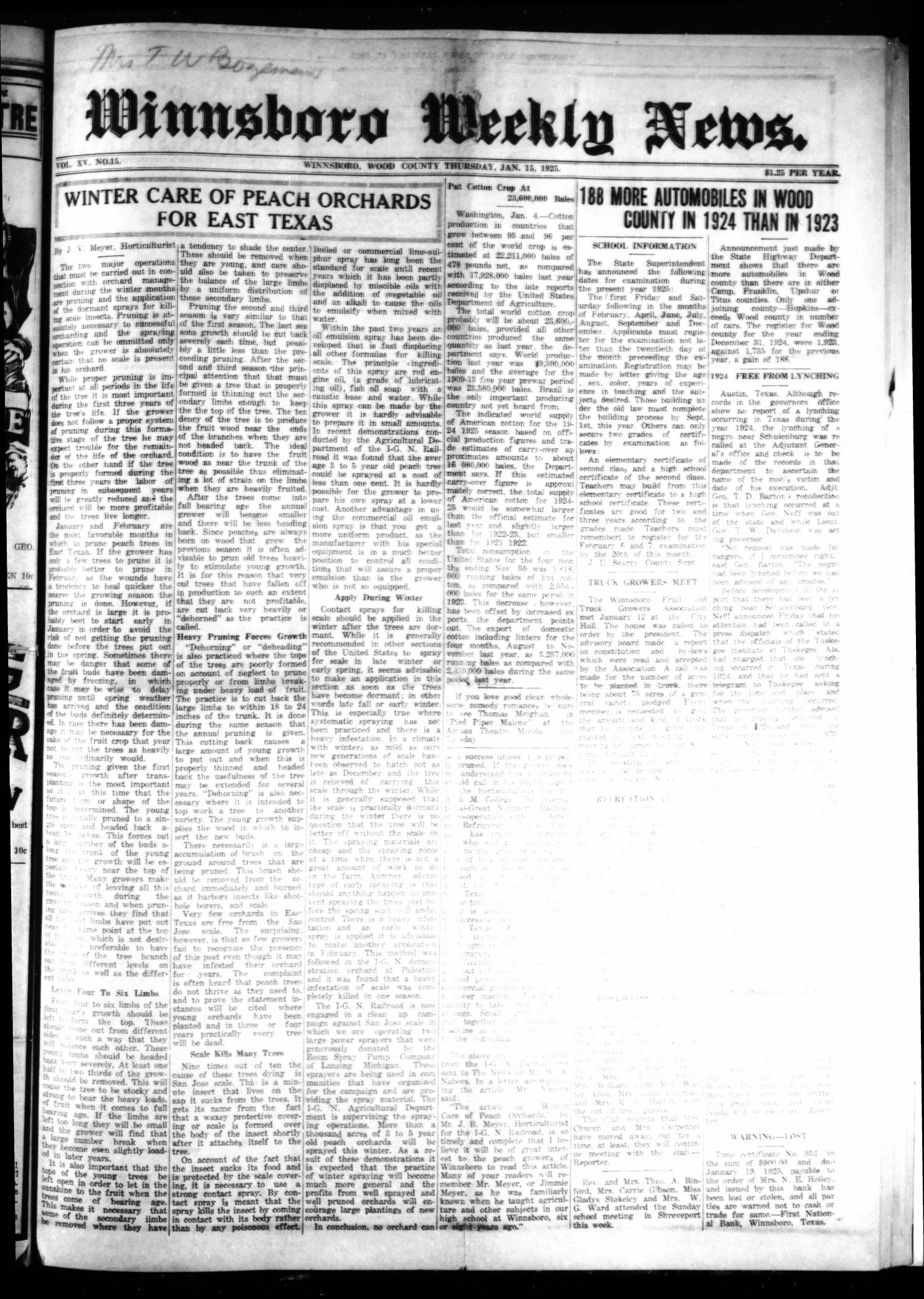 Winnsboro Weekly News (Winnsboro, Tex.), Vol. 15, No. 15, Ed. 1 Thursday, January 15, 1925                                                                                                      [Sequence #]: 1 of 8