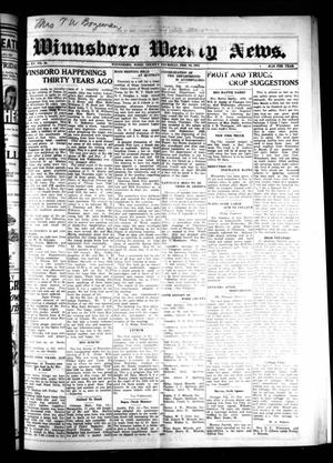 Primary view of object titled 'Winnsboro Weekly News (Winnsboro, Tex.), Vol. 15, No. 20, Ed. 1 Thursday, February 19, 1925'.