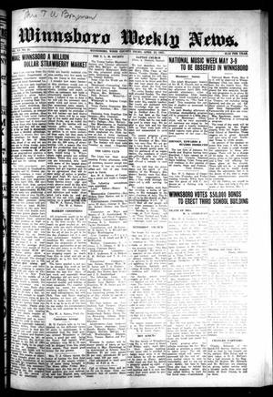 Primary view of object titled 'Winnsboro Weekly News (Winnsboro, Tex.), Vol. 15, No. 29, Ed. 1 Thursday, April 23, 1925'.