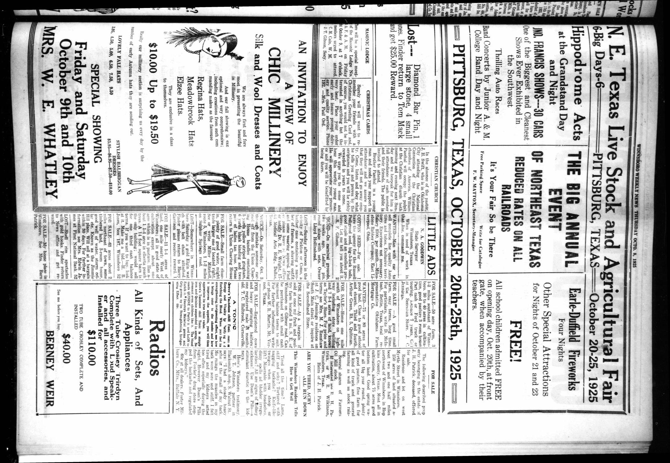 Winnsboro Weekly News (Winnsboro, Tex.), Vol. 18, No. 1, Ed. 1 Thursday, October 8, 1925                                                                                                      [Sequence #]: 3 of 8