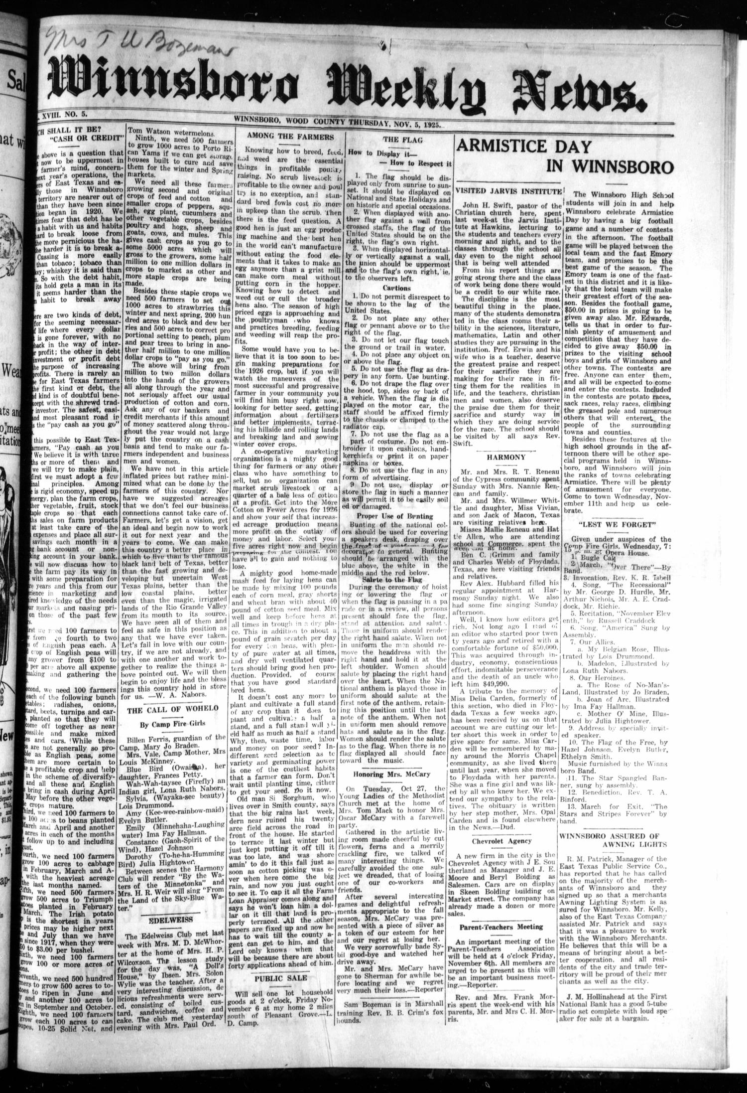 Winnsboro Weekly News (Winnsboro, Tex.), Vol. 18, No. 5, Ed. 1 Thursday, November 5, 1925                                                                                                      [Sequence #]: 1 of 8