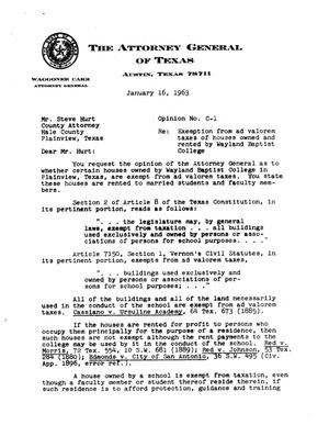 Primary view of object titled 'Texas Attorney General Opinion: C-1'.
