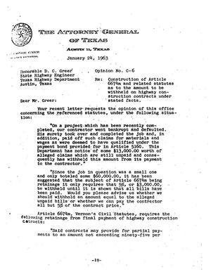 Primary view of object titled 'Texas Attorney General Opinion: C-6'.