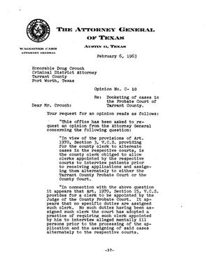 Primary view of object titled 'Texas Attorney General Opinion: C-10'.