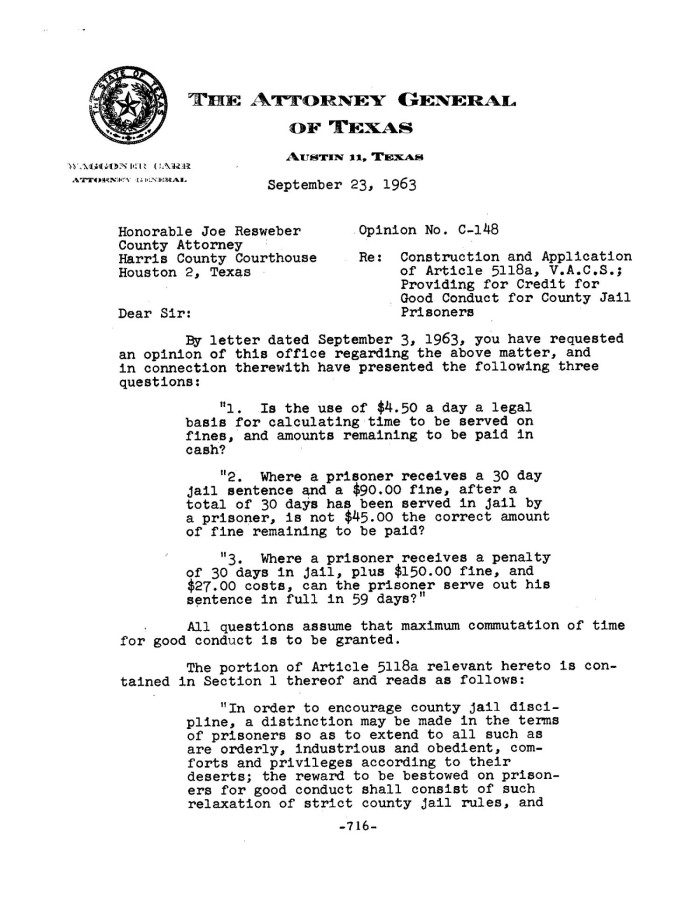 Texas Attorney General Opinion: C-148 - The Portal to Texas