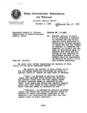 Primary view of object titled 'Texas Attorney General Opinion: C-328'.
