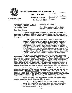 Primary view of object titled 'Texas Attorney General Opinion: C-332'.