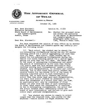 Primary view of object titled 'Texas Attorney General Opinion: C-333'.