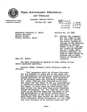 Primary view of object titled 'Texas Attorney General Opinion: C-338'.