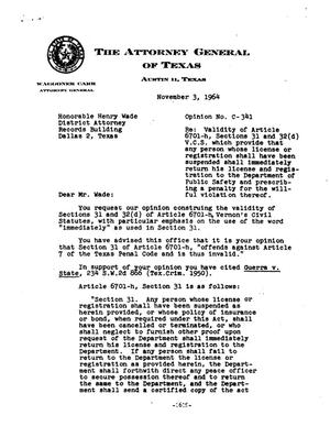 Primary view of object titled 'Texas Attorney General Opinion: C-341'.