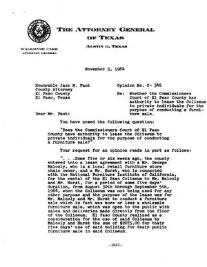 Primary view of object titled 'Texas Attorney General Opinion: C-342'.