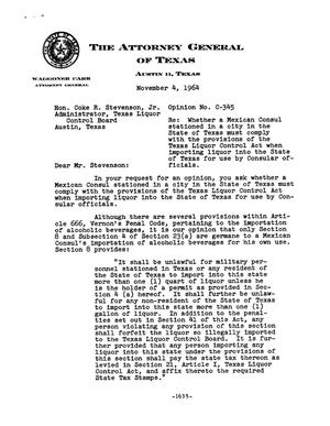 Primary view of object titled 'Texas Attorney General Opinion: C-345'.