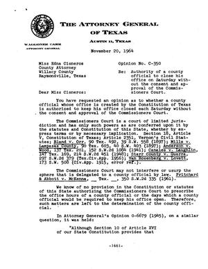Primary view of object titled 'Texas Attorney General Opinion: C-350'.