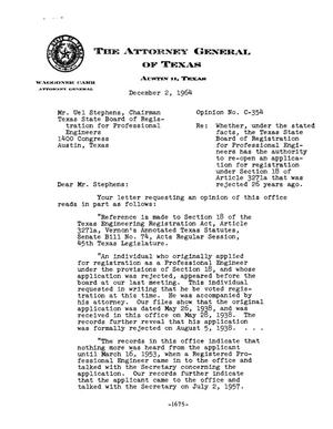 Primary view of object titled 'Texas Attorney General Opinion: C-354'.