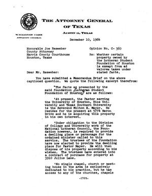 Primary view of object titled 'Texas Attorney General Opinion: C-360'.