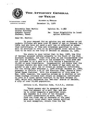 Primary view of object titled 'Texas Attorney General Opinion: C-362'.