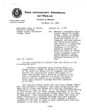 Primary view of object titled 'Texas Attorney General Opinion: C-370'.