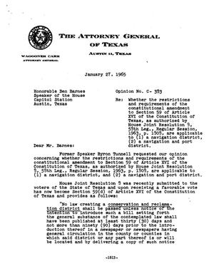 Primary view of object titled 'Texas Attorney General Opinion: C-383'.