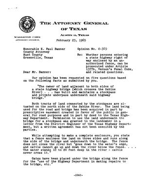 Primary view of object titled 'Texas Attorney General Opinion: C-389'.
