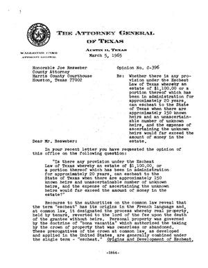 Primary view of object titled 'Texas Attorney General Opinion: C-396'.