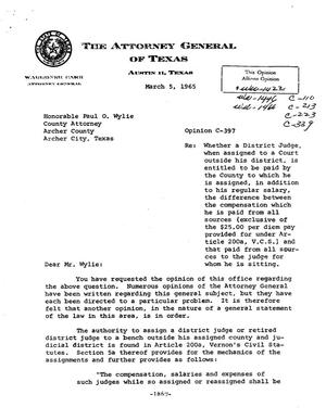 Primary view of object titled 'Texas Attorney General Opinion: C-397'.
