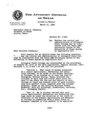Primary view of object titled 'Texas Attorney General Opinion: C-400'.