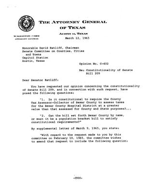 Primary view of object titled 'Texas Attorney General Opinion: C-402'.