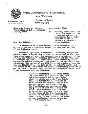 Primary view of object titled 'Texas Attorney General Opinion: C-403'.