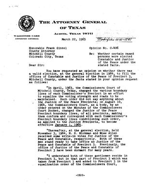 Primary view of object titled 'Texas Attorney General Opinion: C-406'.