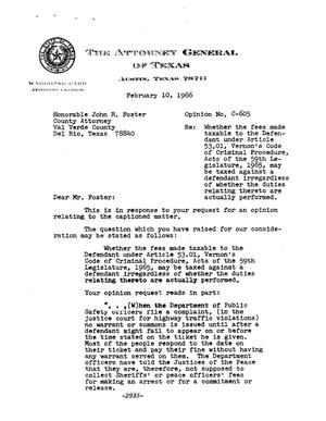 Primary view of object titled 'Texas Attorney General Opinion: C-605'.