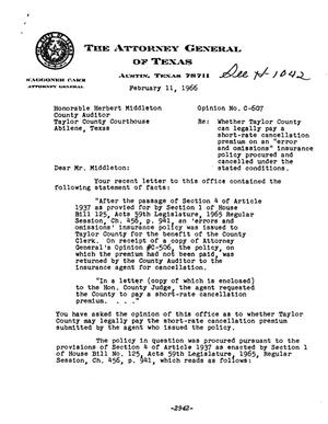 Primary view of object titled 'Texas Attorney General Opinion: C-607'.