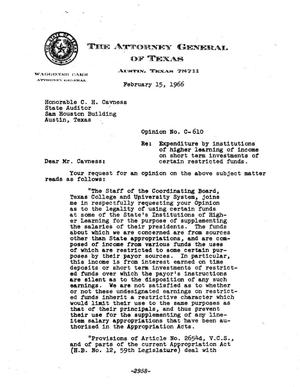 Primary view of object titled 'Texas Attorney General Opinion: C-610'.