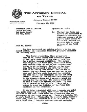 Primary view of object titled 'Texas Attorney General Opinion: C-617'.