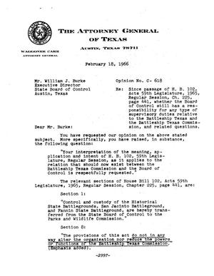 Primary view of object titled 'Texas Attorney General Opinion: C-618'.