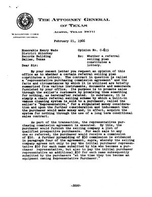 Primary view of object titled 'Texas Attorney General Opinion: C-619'.