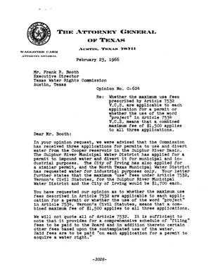 Primary view of object titled 'Texas Attorney General Opinion: C-624'.