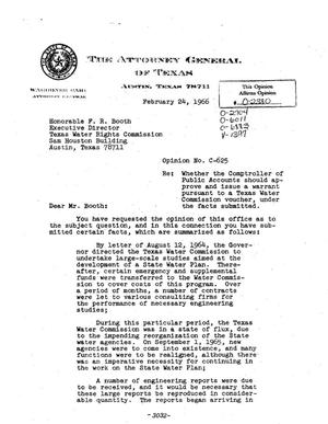 Primary view of object titled 'Texas Attorney General Opinion: C-625'.