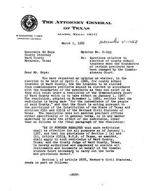 Primary view of object titled 'Texas Attorney General Opinion: C-629'.