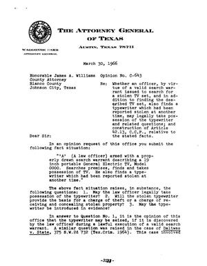 Primary view of object titled 'Texas Attorney General Opinion: C-643'.