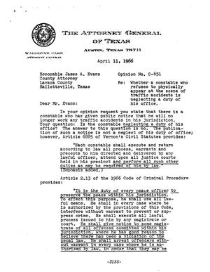 Primary view of object titled 'Texas Attorney General Opinion: C-651'.