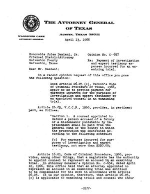 Primary view of object titled 'Texas Attorney General Opinion: C-657'.