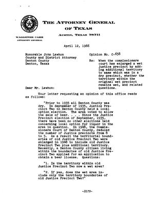 Primary view of object titled 'Texas Attorney General Opinion: C-658'.