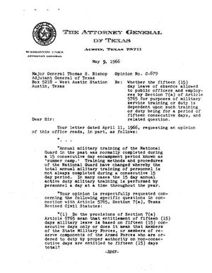 Primary view of object titled 'Texas Attorney General Opinion: C-679'.