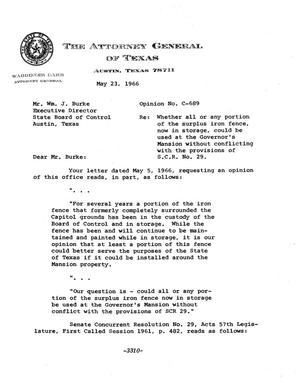Primary view of object titled 'Texas Attorney General Opinion: C-689'.
