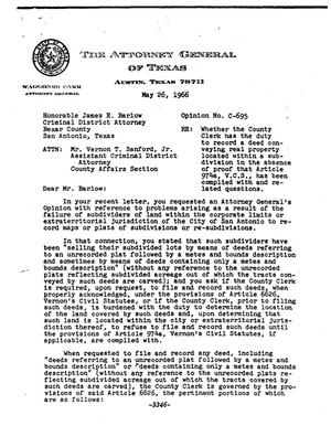 Primary view of object titled 'Texas Attorney General Opinion: C-695'.