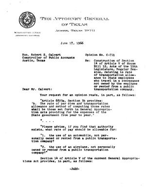 Primary view of object titled 'Texas Attorney General Opinion: C-711'.